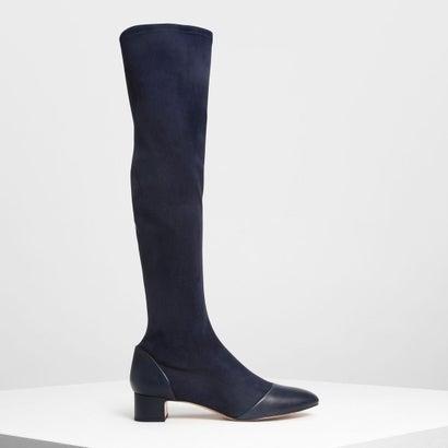 ブロックヒール ニーブーツ / Block Heel Knee Boots (Dark Blue)