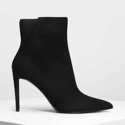 ポインテッドスティレット カーフブーツ / Pointed Stiletto Calf Boots (Black)