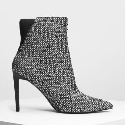 ポインテッドスティレット カーフブーツ / Pointed Stiletto Calf Boots (Black Textured)