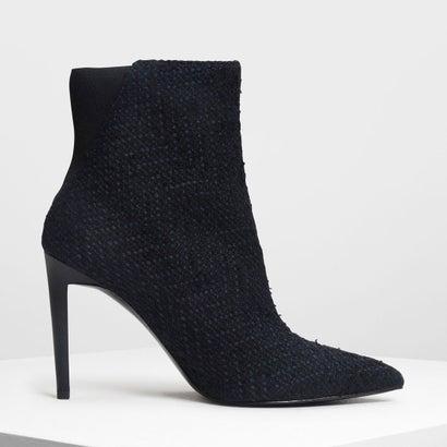 ポインテッドスティレット カーフブーツ / Pointed Stiletto Calf Boots (Dark Blue)
