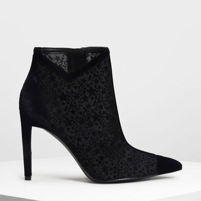 ベルベットフロッキング アンクルブーツ / Velvet Flocking Ankle Boots (Black)