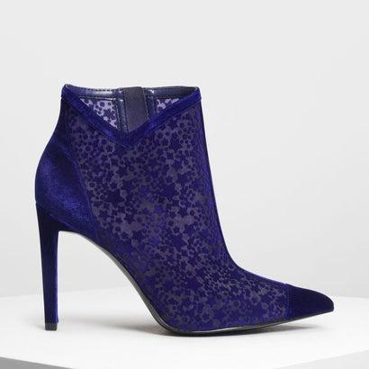 ベルベットフロッキング アンクルブーツ / Velvet Flocking Ankle Boots (Blue)