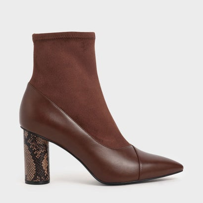 【2019 WINTER 新作】テクスチャード シリンドリカルヒールアンクルブーツ / Textured Cylindrical Heel Ankle Boots (Brown)