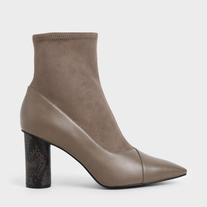 【2019 WINTER 新作】テクスチャード シリンドリカルヒールアンクルブーツ / Textured Cylindrical Heel Ankle Boots (Taupe)