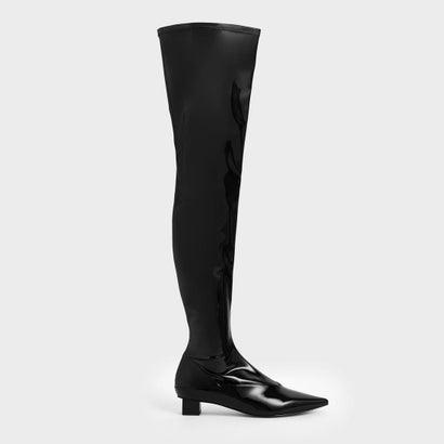 【2019 WINTER 新作】サイハイ パテントブーツ / Thigh High Patent Boots (Black)