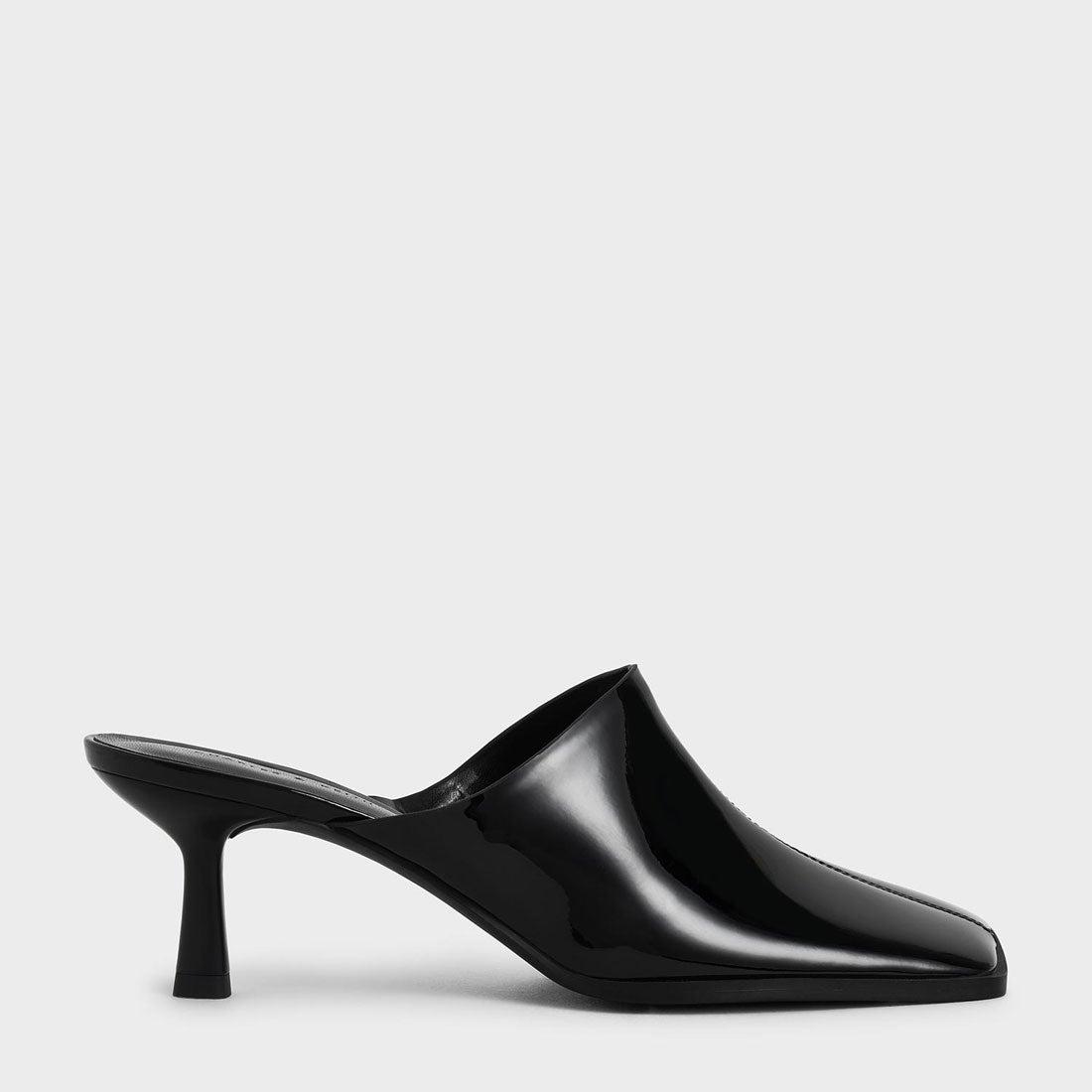 パテントスクエアトゥ ミュール / Patent Square Toe Mules (Black)