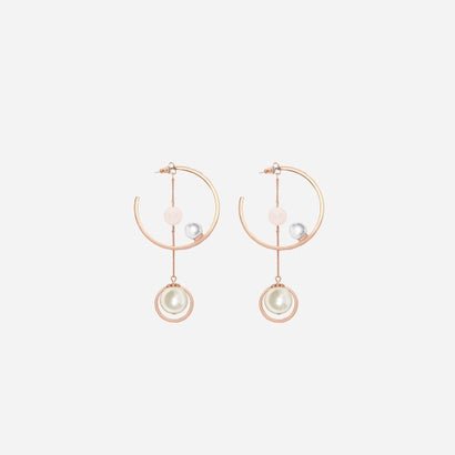 ストーンフープピアス / STONE HOOP PIERCE (Rose Gold)