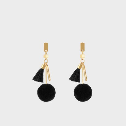 チャームディテールピアス / CHARM DETAIL PIERCED EARRINGS (Black)