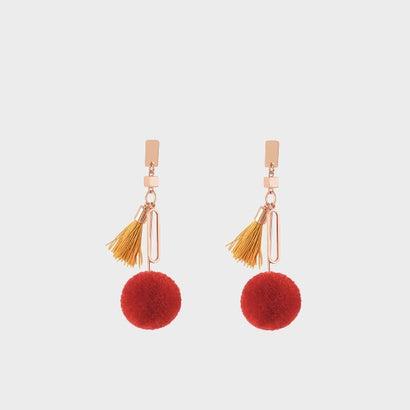 チャームディテールピアス / CHARM DETAIL PIERCED EARRINGS (Red)