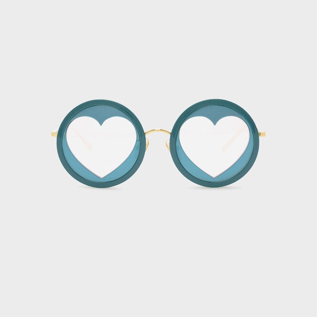 ハートシェイプフレームサングラス / HEART-SHAPED FRAME SUNGLASSES (Teal)