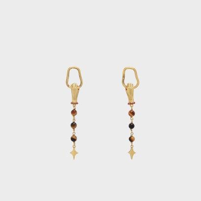 セミプレシャスストーンドロップピアス / SEMI-PRECIOUS STONE DROP EARRINGS (Bronze)