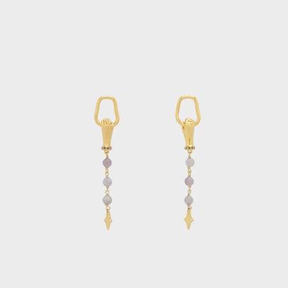 セミプレシャスストーンドロップピアス / SEMI-PRECIOUS STONE DROP EARRINGS (Gold)