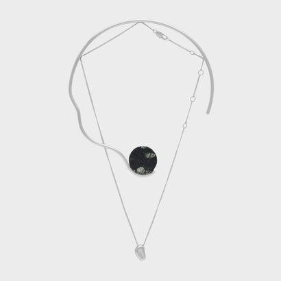 セミプレシャスストーンダブルネックレス / SEMI-PRECIOUS STONE DOUBLE NECKLACE (Grey)
