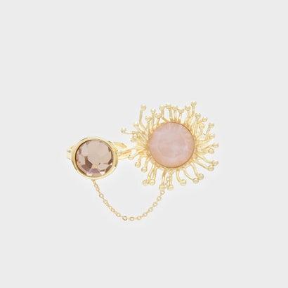 クリスタル チャーム ダブルリング / Crystal Charm Double Ring (Pink)
