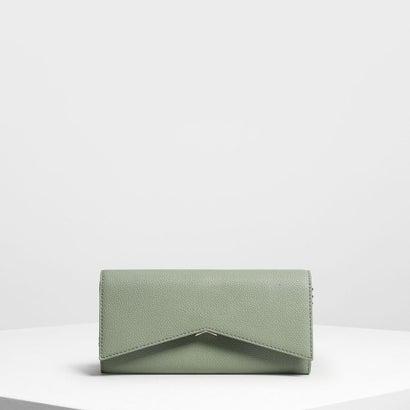 メタリックアクセント ロングウォレット / Metallic Accent Long Wallet (Sage Green)