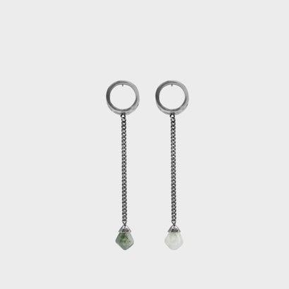 セミプレシャスストーン サークルドロップピアス/ Semi-Precious Stone Circle Drop Earrings (