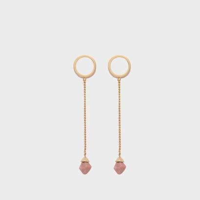 セミプレシャスストーン サークルドロップピアス / Semi-Precious Stone Circle Drop Earrings (