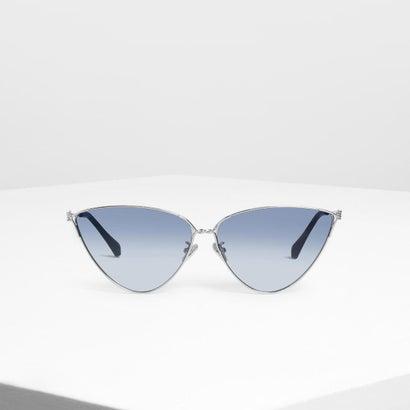 スキニーフレームド キャットアイサングラス / Skinny Framed Cateye Sunglasses (Blue)