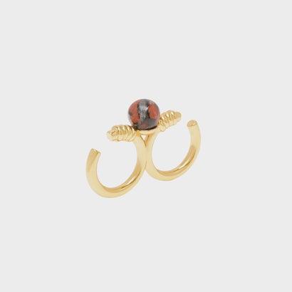ダブルスタッズ セミプレシャスストーンリング / Double Studded Semi-Precious Stone Ring (Gold)