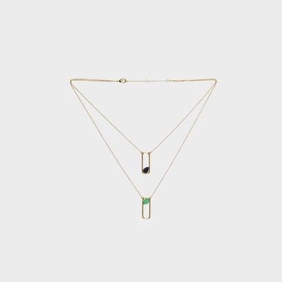 セミプレシャスストーン レイヤードネックレス / Semi-Precious Stone Layered Necklace (Gold)