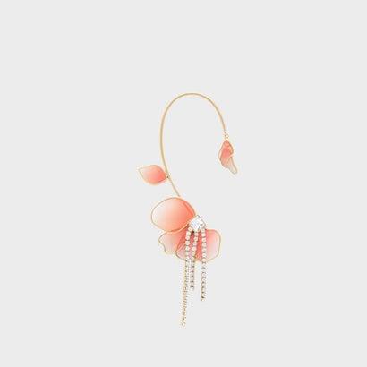 クリスタル&アクリル ペタルドロップイヤリング / Crystal & Acrylic Petal Drop Earrings (Pink)