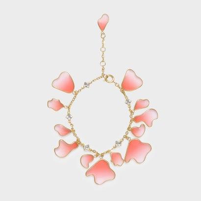 クリスタル&アクリル ペタルブレスレット / Crystal & Acrylic Petal Bracelet (Pink)