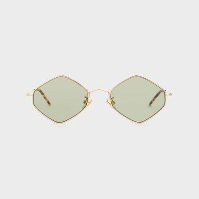 シンメタルフレーム ジオメトリックサングラス / Thin Metal Frame Geometric Sunglasses (Green)