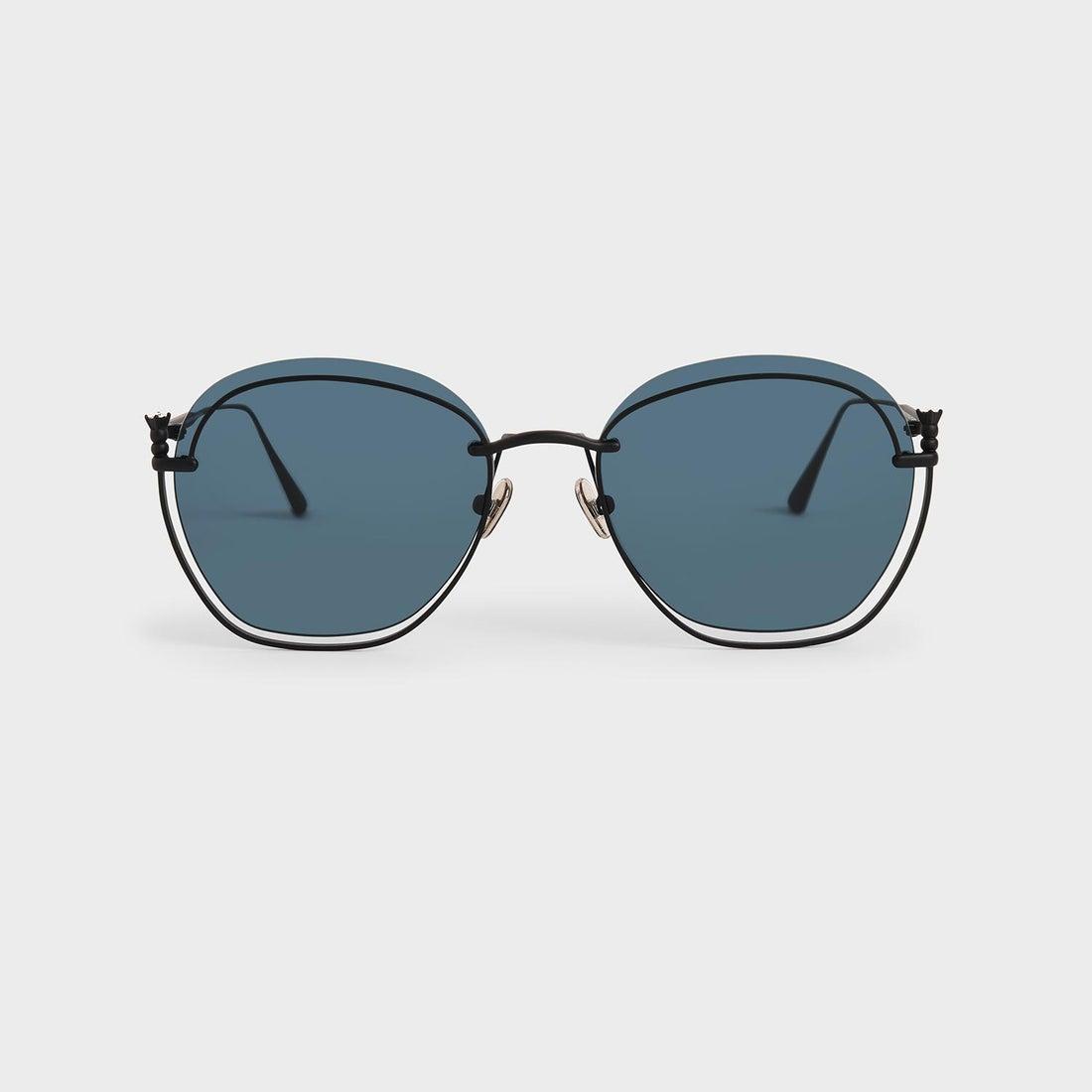 【2020 FALL 新作】カットアウトラウンドサングラス / Cut-Out Round Sunglasses (Dark Blue)