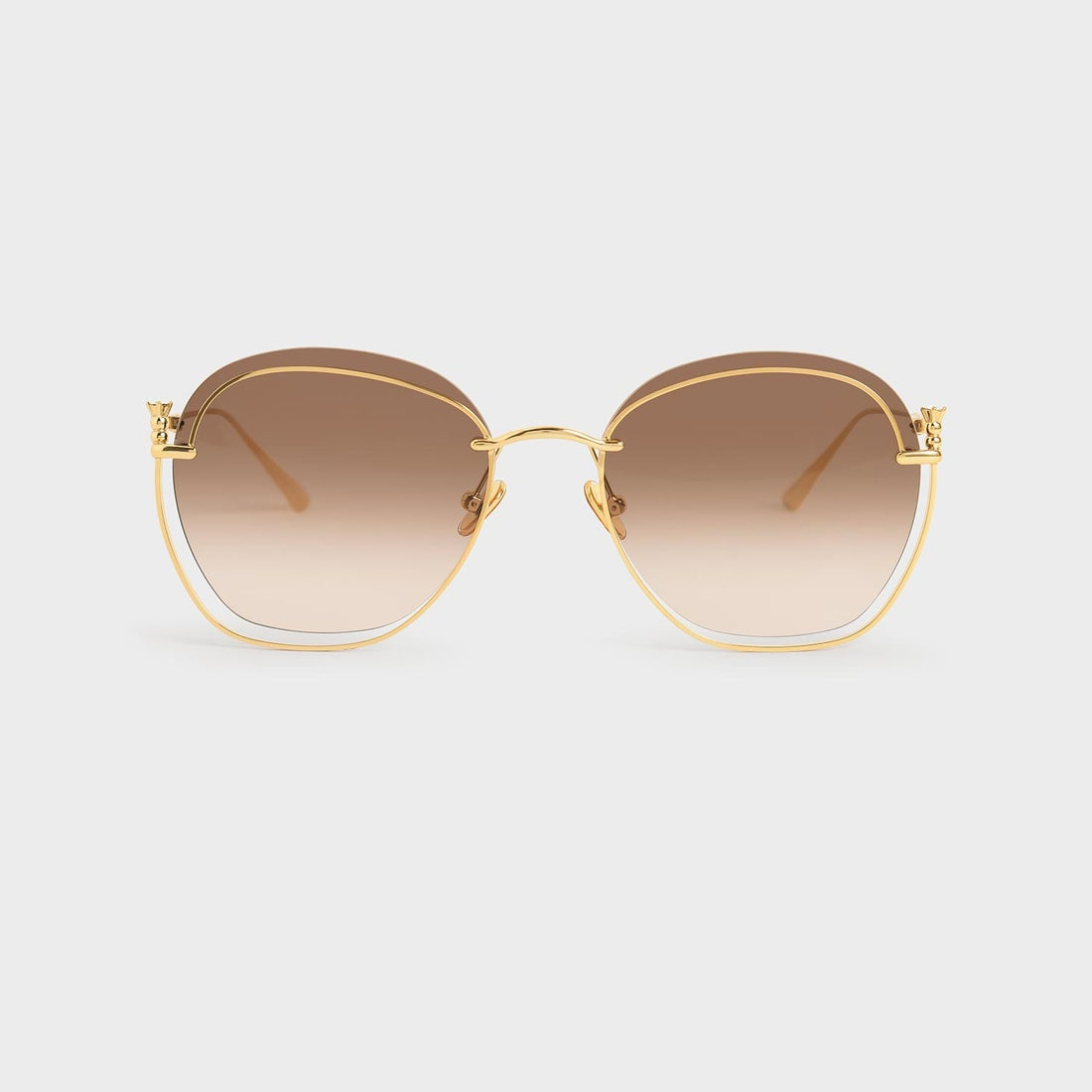 【2020 FALL 新作】カットアウトラウンドサングラス / Cut-Out Round Sunglasses (Gold)