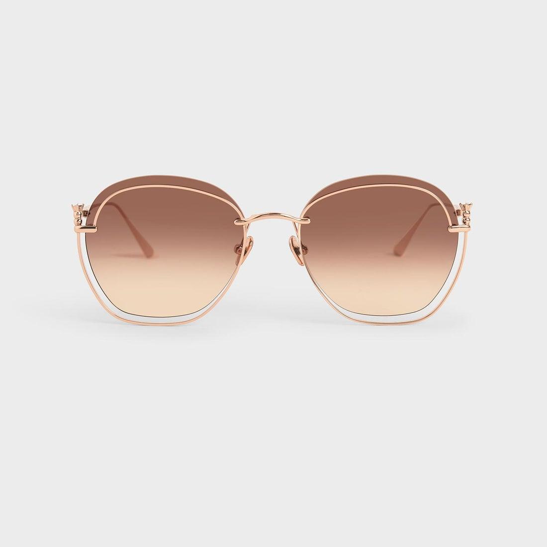 【再入荷】【2020 FALL 新作】カットアウトラウンドサングラス / Cut-Out Round Sunglasses (Rose Gold)
