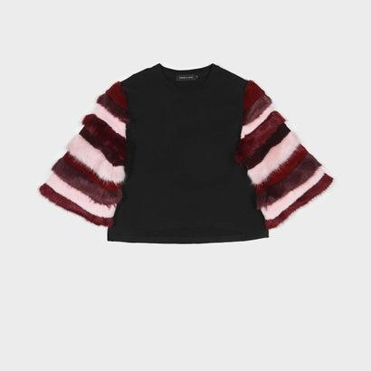 ファーリー スリーブ Tシャツ / FURRY SLEEVE T-SHIRT (Black)