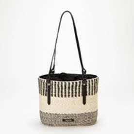 トプカピ TOPKAPI 【予約商品】アバカ幾何柄編み・丸型トートバッグ (ブラック)
