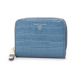 トプカピ TOPKAPI クロコ型押し・ラウンドファスナー折り財布 (ブルー)