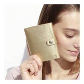 トプカピ TOPKAPI 角シボ型押しメタリックレザー・二つ折りミニ財布 (ゴールド)