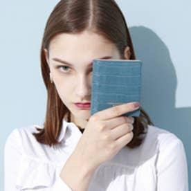 トプカピ TOPKAPI クロコ型押し・コンパクト折り財布 (ブルー)