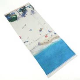 トプカピ TOPKAPI コットンレーヨンビーチ柄・デジタルプリントストール (ブルー)