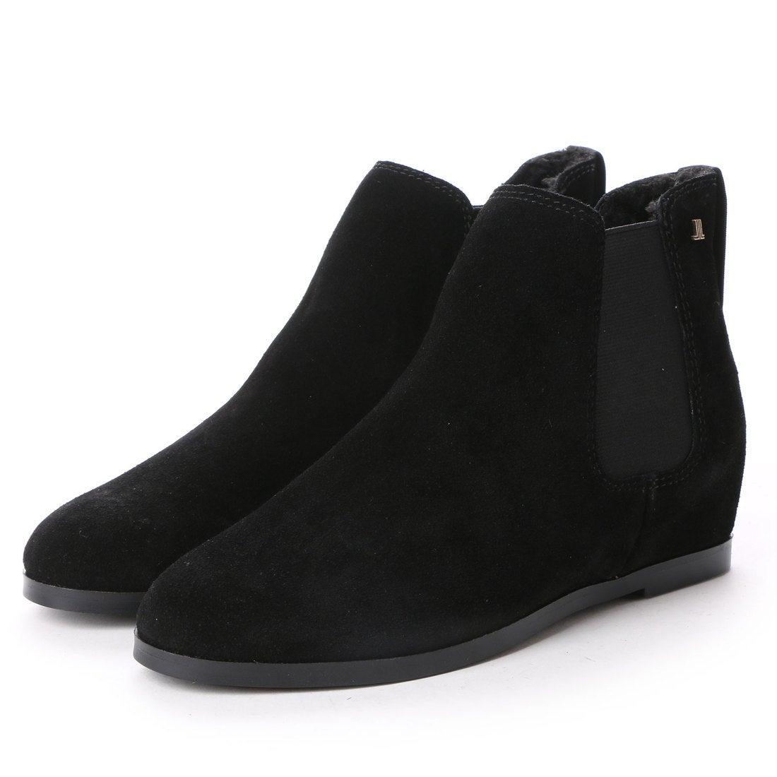 ランバン オン ブルー LANVIN en Bleu インヒールサイドゴアショートブーツ (ブラックスエード) ,靴とファッションの通販サイト ロコンド