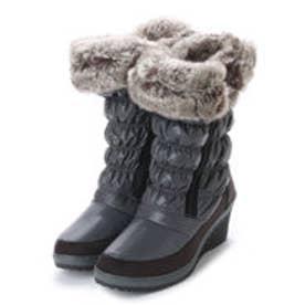 ニューイタリア NEW ITALIA ウェッジソール ダブル ジッパー 防寒ブーツ (チャコール)