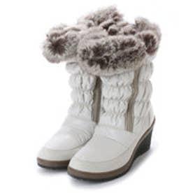 ニューイタリア NEW ITALIA ウェッジソール ダブル ジッパー 防寒ブーツ (アイボリー)