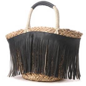 クーコ COOCO フリンジ付き水草トートバッグ (ブラック)