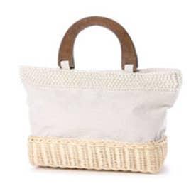 クーコ COOCO パール付ウッドハンドルトートバッグ (オフホワイト)