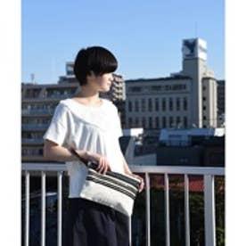 クーコ COOCO ビジューテープ付キャンバスクラッチバッグ (オフホワイト)