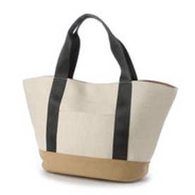 クーコ COOCO フェイクレザー×キャンバストートバッグ (オフホワイト)