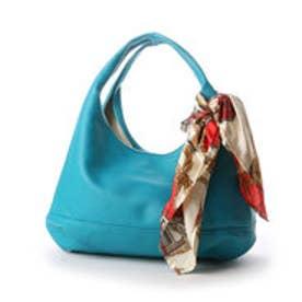 クーコ COOCO スカーフ付きPUクリ手バッグ (ブルーグリーン)