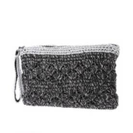 クーコ COOCO ラメ糸Mix柄編みペーパーかごクラッチバッグ【A4サイズ対応】 (ブラック)
