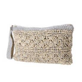 クーコ COOCO ラメ糸Mix柄編みペーパーかごクラッチバッグ【A4サイズ対応】 (ナチュラル)