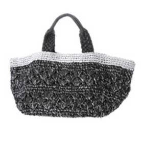 クーコ COOCO ラメ糸Mix柄編みかごバッグ【A4サイズ対応】 (ブラック)