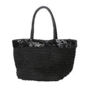 クーコ COOCO スパンコールペーパーかごトートバッグ (ブラック)