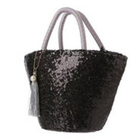 クーコ COOCO スパンコールバケツ型かごバッグ  (ブラック)
