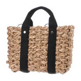 クーコ COOCO ストライプ巾着かごバッグ (ブラック)